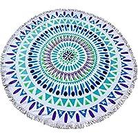 Q - Manta Redonda de algodón con borlas Indias y Mandala, Toalla de