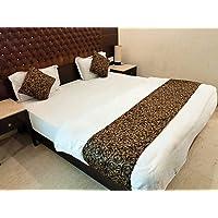 MKS INDIA Velvet 300 TC Bed Runner & Cushion Cover Combo (Standard_Brown)