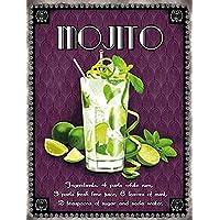 Cócteles–Mojito Alcohol Cartel de chapa nostálgico–Tamaño 15x 20cm