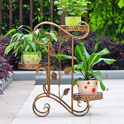 LI MING Shop Eisen-Blumen-Stand-, Innen- und im Freienmehrschichtiger Blumen-Stand-einfacher europäischer Wohnzimmer-Blumen-Stand-Balkon-Grün-Blumen-Stand (Color : Brass) -