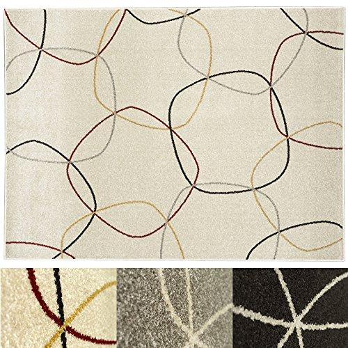 Design Teppich Cells | moderner Wohnzimmerteppich mit Trend Kreis Muster | in 2 Größen und vielen Farben für Wohnzimmer, Esszimmer, Schlafzimmer etc. | creme 120x170 cm