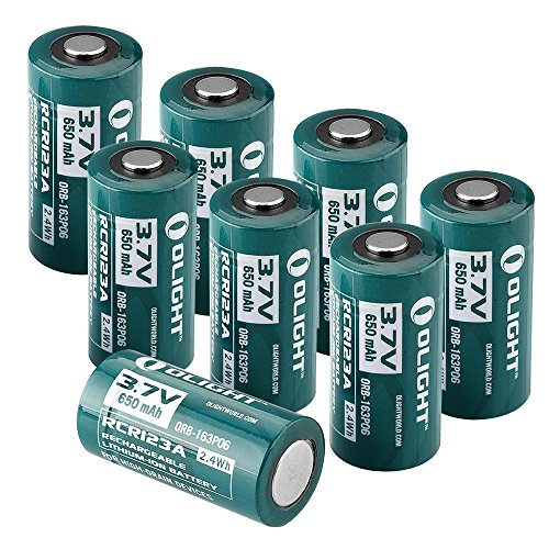 Olight® Piles Rechargeables RCR123A 16340 650mAh, Batteries Accus CR123A Rechargeable, Batterie de Rechange (8 Piles)