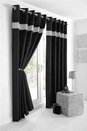 Kimberley Black Faux Silk Fully Lined Ready Made 66 x 72 Inch Drop ...