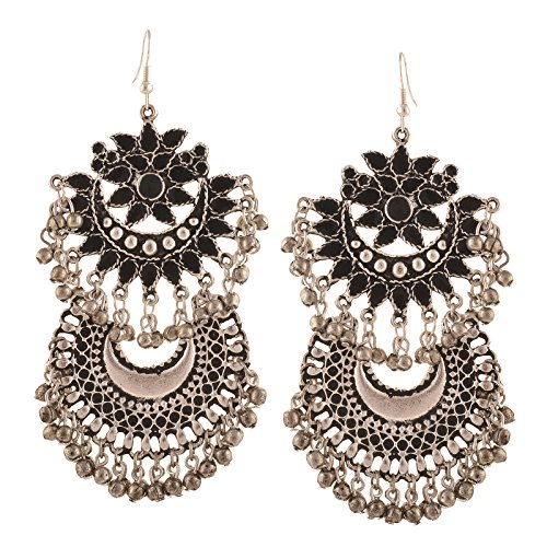 Zephyrr Fashion German Silver Afghani Tribal Dangler Hook Long Earrings For Women