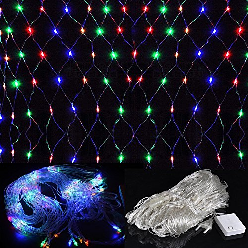 WYBAN 2 x 2M 144 LEDs RGB Lichterkette/Netzlicht Helles Netzlicht Außenbeleuchtung für Gartendekorationslichter/Park/Hochzeit /Partei / Innen und Außen Deko (2 x 2M-RGB)