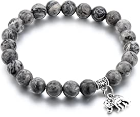 Hot And Bold Grey Gold Plated Certified Natural Stones Charm Bracelet For Men, Women, Boys & Girls