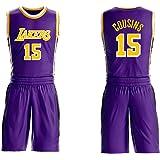 Demarcus Cousins # 15 Shorts de Jersey para niños Juventud Hombres, Los Angeles Lakers No.15 Jersey, Conjunto sin Mangas, M