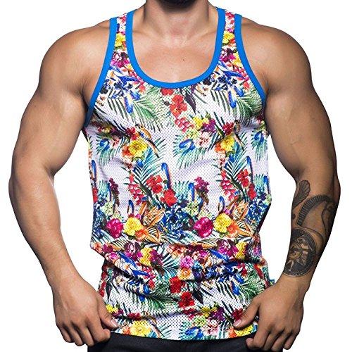 Andrew-Christian-Camiseta-de-Tirantes-Para-Hombre-Tropical-Print-Medium