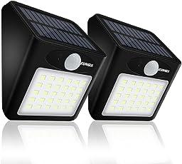 2 Stück 30 LED Solarleuchte für Außen, KUNGIX  Superhelles Solar Leuchte Solarlampe mit Bewegungsmelder, Wasserdichte Außenbeleuchtung Solarlicht für Garten, Auffahrt, Hof, Garage, Flur, Wände, Veranda