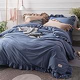 BB.er Biancheria da letto in cotone lavato Biancheria da letto primavera ed estate Copriletto Confortevole Set di tessuti per la casa di moda, blu, 220 * 240 cm