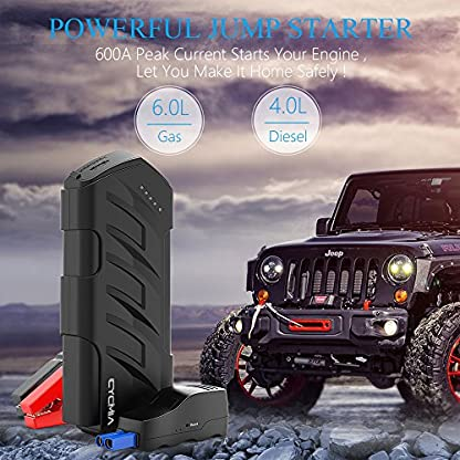 619oCn6ctHL. SS416  - CYCMIA 600A Peak 15000mAh Car Jump starter Auto Battery (Up to 6.0L Gas or 4.0 Diesel Engines) High capacity Portable Charger phone Power bank with Multiple Protected Smart Clamp
