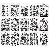 Set di 15 stencil con lettere/fiori/farfalle, modelli riutilizzabili per progetti di scrittura o decorazioni artistiche fai da te, formato A4