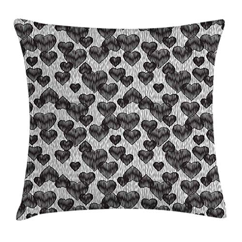 ziHeadwear Romantic Throw Pillow Cushion Cover, Gothic Hearts Tattoo Style Valentine's Love Graffiti Grunge Illustration, Decorative Square Accent Pillow Case, 18 X 18 inches, Pale Grey Black