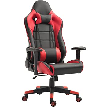 Tiigo Chaise Gamer Fauteuil De Bureau Ordinateur Hauteur Reglable Noir Rouge