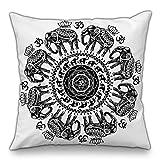 Moyun Schwarz & Weiß Mandala Serie Boho Hippie Indisch Elefant Dekorativ Kissenbezüge Blumen Kissenbezug Sofa Stuhl Dekor 18