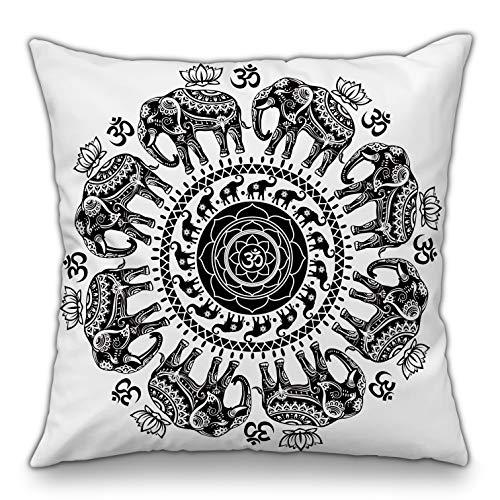 Moyun Blanco y Negro Serie Mandala Funda de cojín Decorativo Funda de Almohada Cojín Bohemio Hippie Elefante Complejo psicodélico Floral Sofá Decoración India