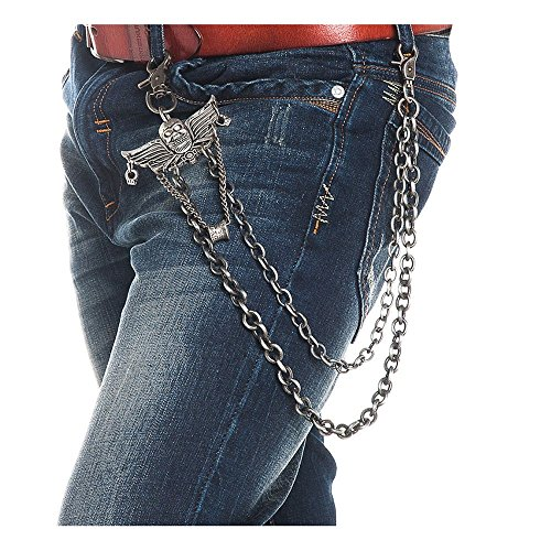 GoGou Jeans Kette Hose-Hosen-Gürtel Keychain Männer Hip Hop Punk Skull Gothic (Punk Kostüm Skull)