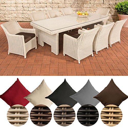 CLP Poly-Rattan Sitzgruppe SANDNES XL, 5 mm RUND-Geflecht (8 Stühle + Tisch ca. 250 x 110 cm) Rattan Farbe perlweiß, Bezugfarbe: Terrabraun