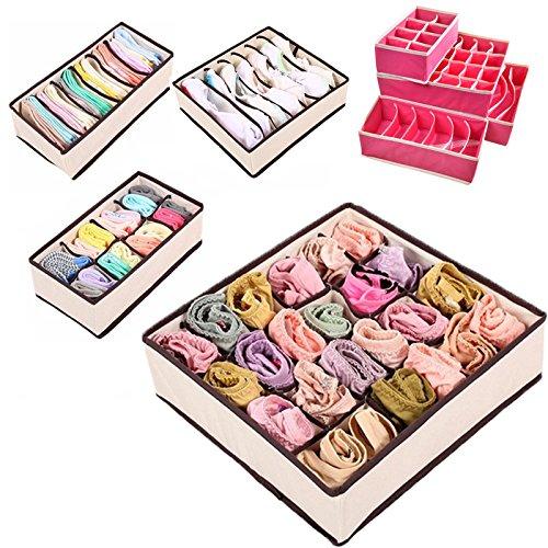 suyi Aufbewahrungsbox faltbar Schublade Organisatoren zusammenklappbar Schränken Trennwände Lagerung Kisten Unterwäsche, Socken, Krawatten, Schals, und jedes Zubehör (Set von 4) -rose, beige rose (Organisatoren 7 8 X Schublade)