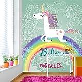 Glauben Sie an Wunder Einhorn über Regenbogen-Fantasie Tapete Kinder Fototapete in 8 Größen erhältlich Mittel digital
