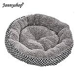 Jannyshop Lit de Chien Corbeille Lit Respirant Rond et Épais pour Animal de Compagnie (Gris, L)