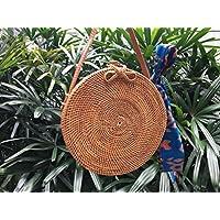 Korbtasche Rund, Rattan Tasche, runde stroh tasche, runde rattan tasche, Round Rattan Basket bag, Hand Woven Bag, Basket Bag, Round Bag, Rattan Bag, Straw Bag, Handmade Bag, Weave Bag, FREE scarf
