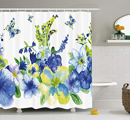 BUZRL Decorations Hearts Flower & Balloon Heart Daisies Butterflies Sunflowers Ladybugs Colorful Grass Floral Bathroom Multicolor Print Polyester Fabric Shower Curtain, Green Pink Purple Blue White