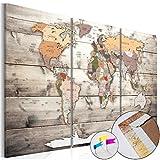 Weltkarte Pinnwand 120x80 cm Leinwand   Bilder Leinwandbilder - Fertig aufgespannt auf dicker 10mm Holzfasertafel! Aufhängfertig! Auch als Korktafel nutzbar! XXL Format - PWC0028b3XL