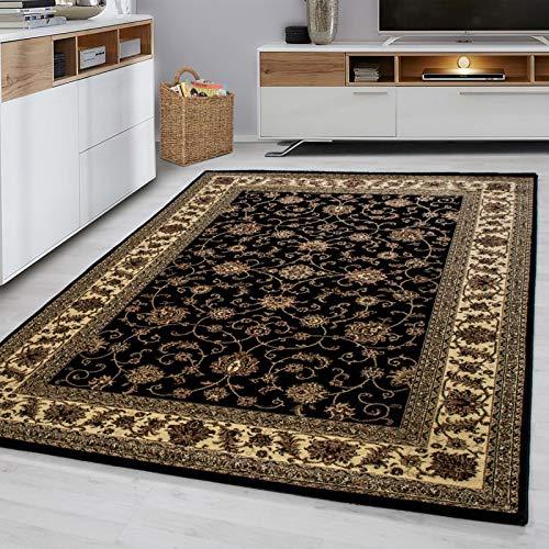 Fabelia Orientalischer Teppich Troja - Klassischer Teppich mit orientalisch-europäischen Designs (300 x 400 cm, Schwarz)
