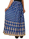 jingle impexHome shop gift Rayon Crape Gold Printed Straight Skirt for women (free Size) Waistband: Elastic