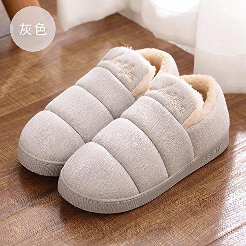 DogHaccd pantofole,Colore puro cotone di qualità pantofole pacchetto femmina con elegante indoor e outdoor home soggiorno pavimento anti-slittamento, donne in stato di gravidanza caldo cotone scarpe Grigio2