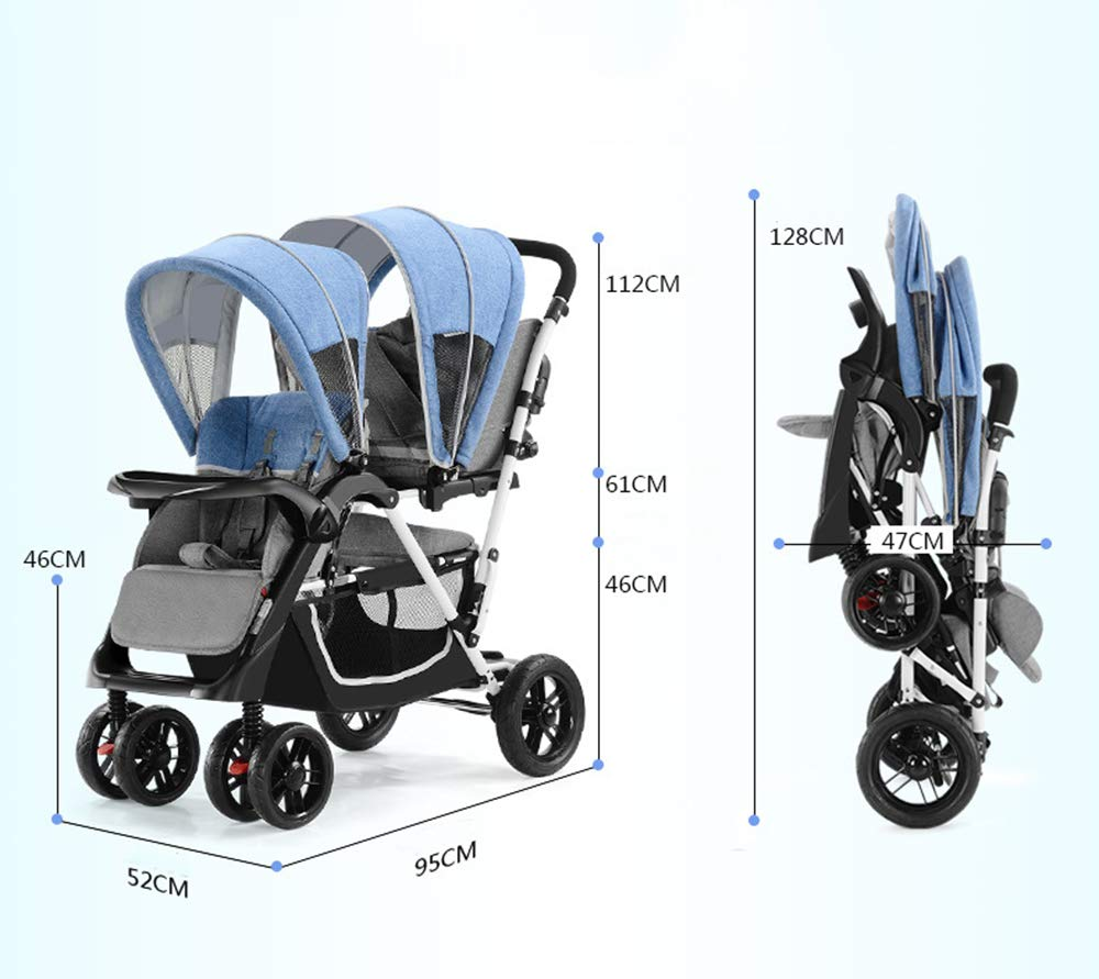 Baby Strollers Double Pushchair Twins Tandem Pushchairs, Reversible Seat Convertible Front And Rear Seats Lightweight with Convertible Bassinet Stroller Extended Canopy/Large Storage Basket,Pink MYRCLMY ♥TWIN STROLLER: Getting everywhere with two little ones has never been easier, thanks to the Double Strollers; you can glide around town even when you only have one hand free to steer; you can even roll through a standard size doorway. ♥ADJUSTABLE BACKREST & CONNECTABLE SEATS :The backrest can adjust to fit baby's sleep posture to keep comfortable sleeping. Two seats can be connected to lengthen the seat. ♥SAFETY WHEELS & 5-POINT SAFETY BELTS:The springs in front wheels absorb shocks for easy to control direction and safety. The 5-point safety belt is equipped with each seat to ensure security while keeping your baby fit to the safety belt to feel comfortable. 40