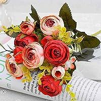 Chunqi Lot de 2bouquets de fleurs artificielles camélias 5tiges et 10fleurs, Plastique, Red&pink, 30cm H*10cm W