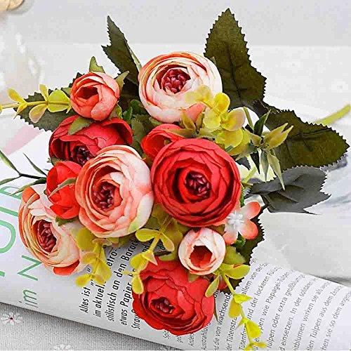 Künstliche Blumen, aus Seide mit Kunststoff, Hochzeitssträuße, Dekoration für Zuhause, Kamelien, 5 Zweige, 10Blütenköpfe, 2Sträuße