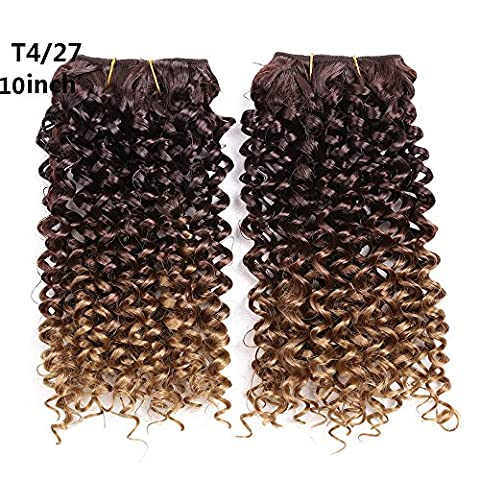 Jerry Curl Synthetic Hair Weave curly crochet Sew in Hair extension kinkycurl hairstyle synthetic hair deep twist braids2pcs/pack 10inch (#4T27)