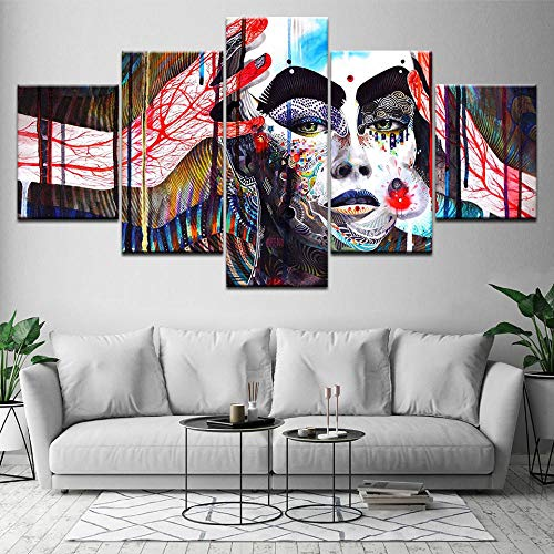 Fbhfbh Hd Printed Canvas 5 Living Room Home Decor Abstract Color Figure Painting Art-12X16/24/32Inch,Without Frame