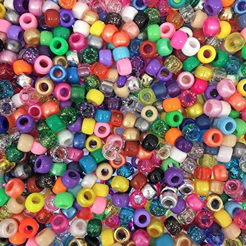 1000 Stück Perlen bunte Bastelperlen Craft Perlen gemischte Perlen und klar