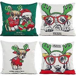 zhichengbosi 4pcs feliz Navidad decorativo fundas de almohada, diseño de ciervo, Super Cute perro cachorro de reno funda de almohada Funda de cojín 18x 18, Gran Calidad Lino y algodón