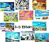 1 STÜCK _ Platzdeckchen / Unterlage / Platzset -  Motive - 3-D Effekt  - incl. Name - 42 cm * 28 cm - Eßunterlage - Tischset / abwaschar - für Erwachsene / ..
