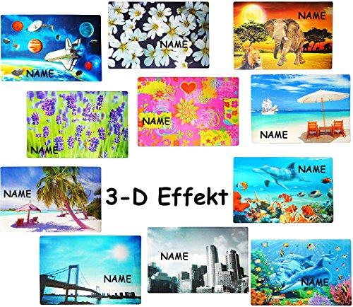 alles-meine.de GmbH 8 Stück _ Unterlage / Platzdeckchen -  3-D Effekt - Motiv Mix  - Incl. Name .. (8 Stück Frühstücks-set)