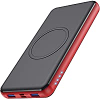 Wireless Powerbank 26800mAh [Rot] - 10W Wireless Charging + 18W PD Fast Charging Feob Externer Akku【2 Schnelles Aufladen…