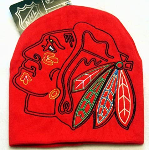 Chicago Blackhawks NHL Cuffless Super Size Logo HYPE LOGO Style Knit Beanie Hat Ski Cap in Team Colors by NHL