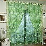 TPulling Kleine Blumenvorhänge 100 x 200cm Vorhang-Tüll-Fensterbehandlungs-Voile Drapieren Volant 1 Platten-Gewebe (Grün)