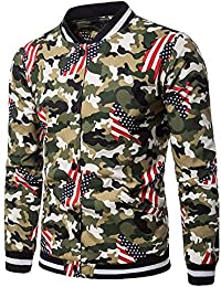 BUSIM Men's Long Sleeved Sweater Autumn Winter Casual Pullover Trend Personality Flag Camouflage Pattern Slim...