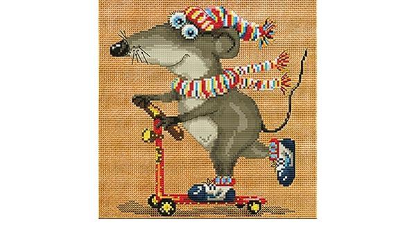 Stickpackung Maus Kreuzstich Perlen 20x20 cm Mouse Crazy Drive DIY ...