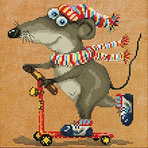 Stickpackung Maus Kreuzstich Perlen 20x20 cm Mouse Crazy Drive DIY #HHD5545 Stickbild Stickvorlage -