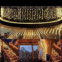 Lichterkette außen B-right 480 Led Lichterkette strombetrieben, Lichterkette warmweiß mit Fernbedienung, Lichterkette innen Weihnachtsbeleuchtung für Weihnachten Balkon Hochzeit Party Weihnachtsbaum