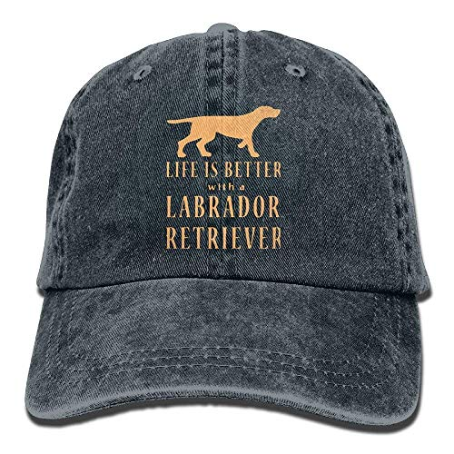 Life is Better with A Labrador Retriever Vintage Washed Dyed Cotton Twill Low Profile Adjustable Baseball ()