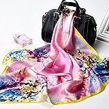 BXR Seidenschal Print Stickerei Stickerei Seidenschal Schal Frühling Wild Sunscreen Strandtuch (Länge: 65 * 65 cm, Verpackung von 1) (Farbe : L)