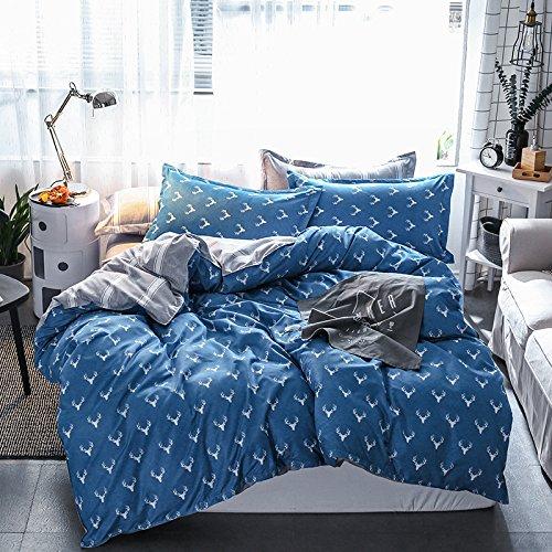 KFZ Bett Set (Zwei Full Queen King Size) [4: Bettbezug, Bettlaken, 2Kissenbezüge] keine Tröster KY-Pink bulldog Noble Deers Print Design für Kinder, Erwachsene, Microfaser, Deer Mask, Blue, Twin 59